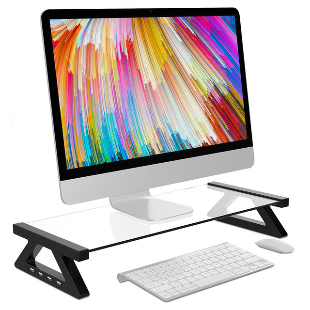 Besegad Aluminum Alloy Monitor Stand Space Bar Dock Desk Riser with 4 USB Ports for iMac MacBook Computer Laptop Below 20Inch