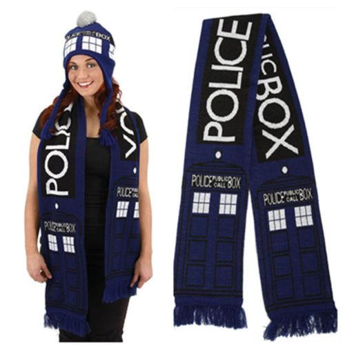 Dr Doctor Who Cosplay Scarf Tardis 8' Public Call Box Blue Neckchief Wrap Scarf Halloween Carnival Adult Women Men Scarf