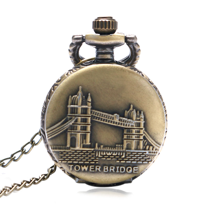 Small Size Vintage Bronze Tower Bridge Quartz Pocket Watch Men Women Fob Watches Mini Cute Clock Gift With 80cm Necklace