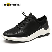 SERENE Brand 2017 Elastic Band Breathable Men Black Casual Shoes Spring Autumn Size38 46 Fashion Style