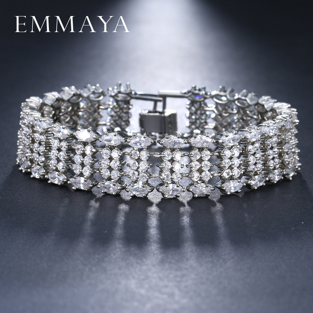 EMMAYA Brand New Luxury Bracelet Pave CZ Bạc Chuỗi Màu Vòng Đeo Tay Thời Trang Charm Bracelets cho Phụ Nữ