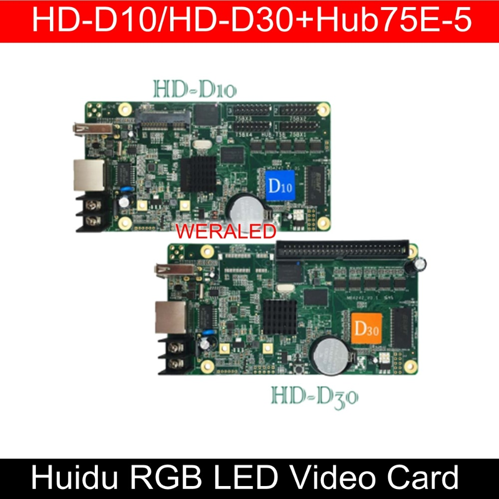 Asynchronization WERALED A + Huidu HD-D10/HD-D30 + HUB75E-5 Full Color LEVOU Placa de Vídeo, pode adicionar sem fio WIFI/3g/4g modular