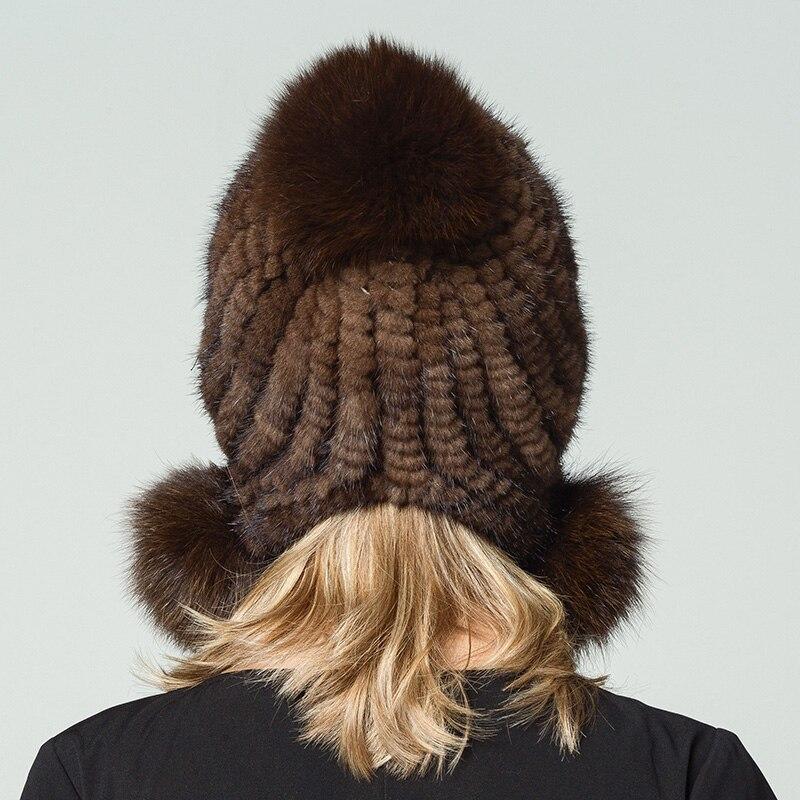 Puro Naturale Visone Cappelli Lavorati A Maglia Cappello di Pelliccia  Femminile In Inverno UNA Donna Russa Sfera di Capelli della Volpe di Modo  Cappelli ... f18d334ed5a6