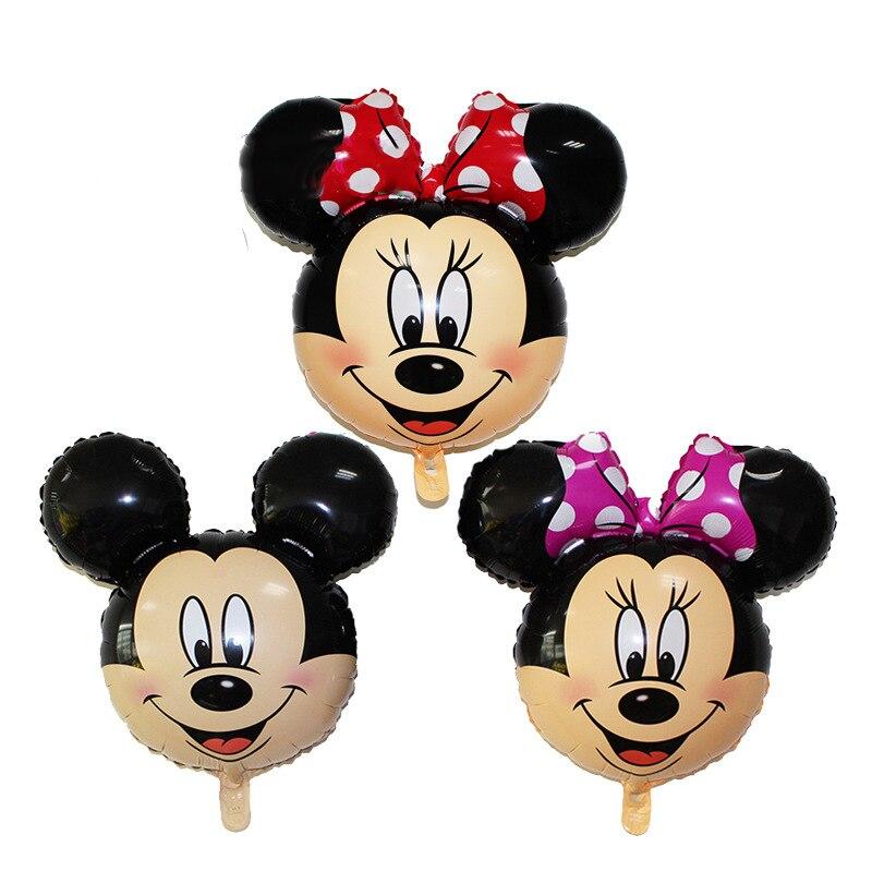 1pcs New Cartoon Mickey Mouse Aluminum Balloon Large Mickey Head Minnie Balloons Birthday Wedding Party Decoration
