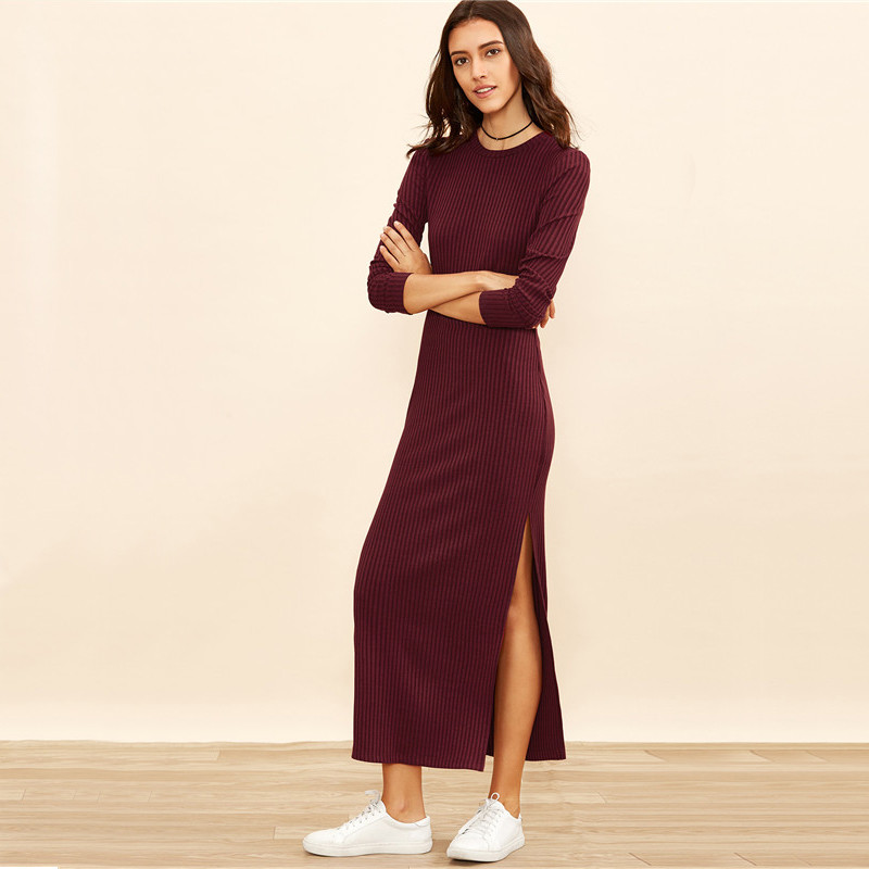 COLROVIE Winter Dresses for Women European Style Women Fall Dresses Burgundy Knitted Long Sleeve High Slit Ribbed Dress 11