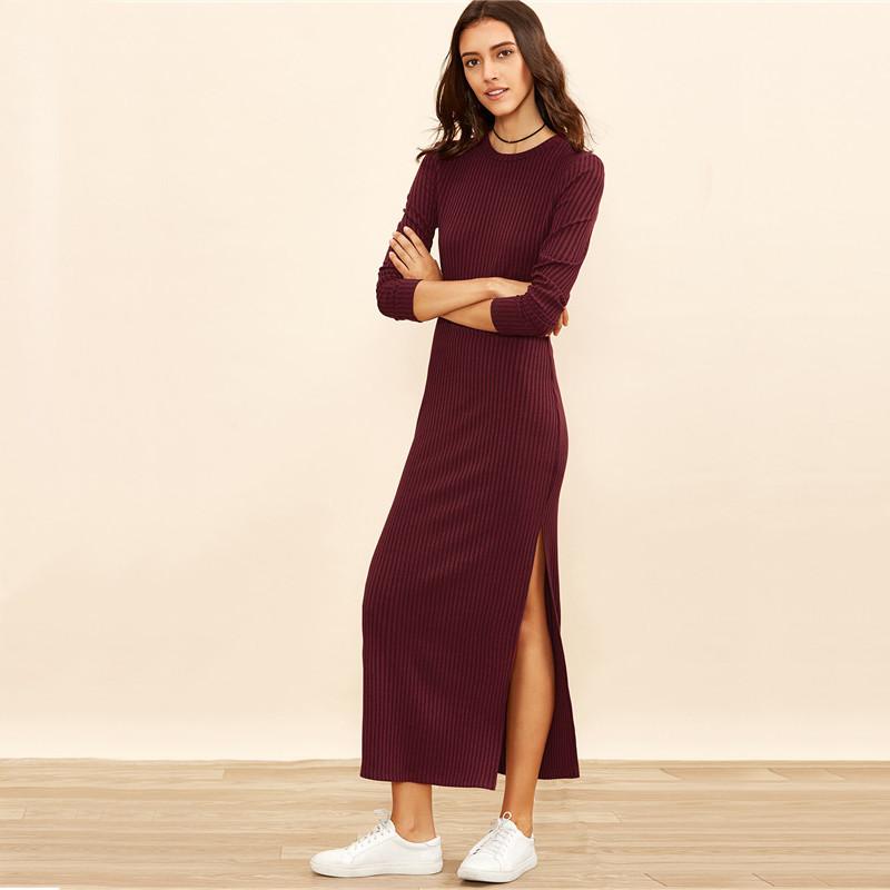 Burgundy Knitted Long Sleeve High Slit Ribbed Dress