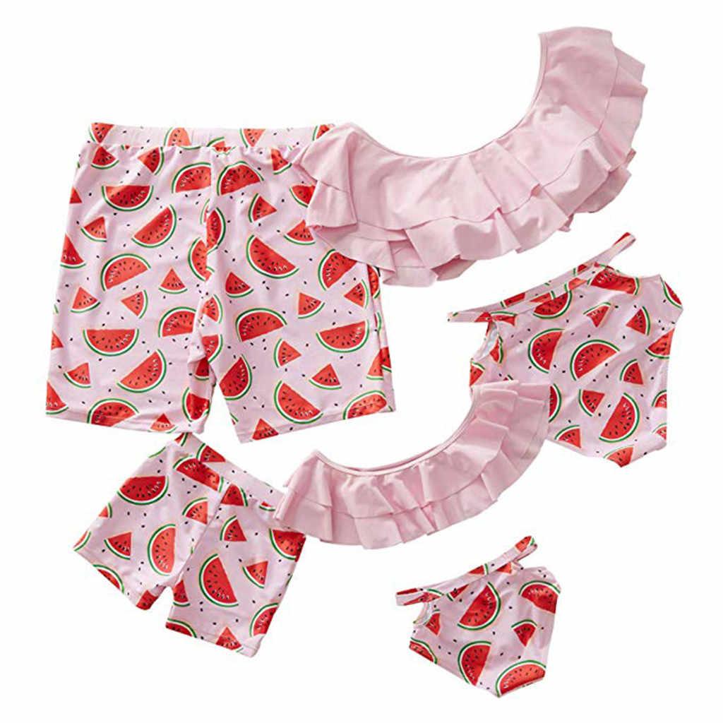 Семейный детский комплект бикини для ванной с арбузом, детский купальник без рукавов с фруктовым принтом, Раздельный купальник, платье для родителей и ребенка, A3042