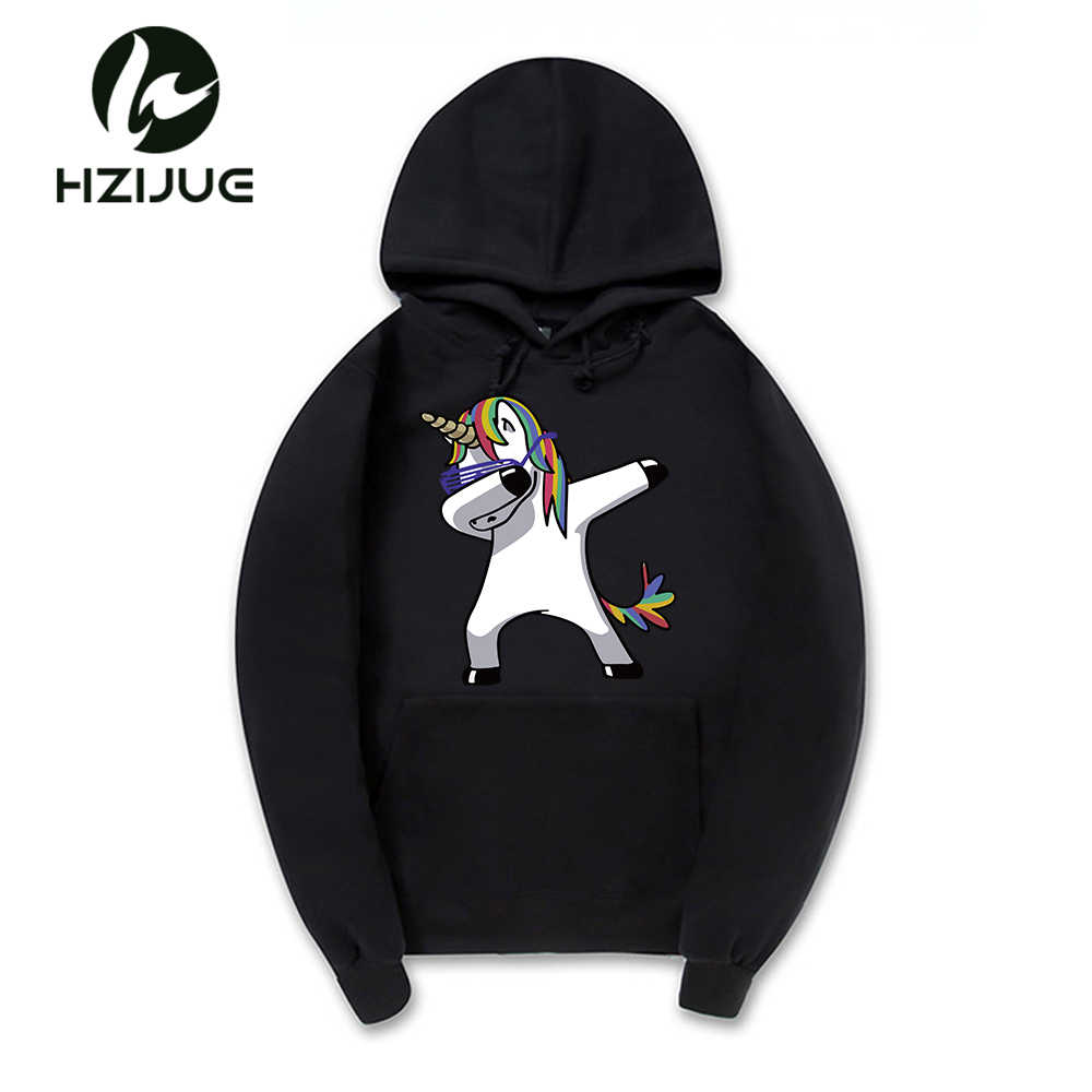 4c76ee78be5 2018 The Fashion Newest Funny Dabbing Unicorn Hoodie Men Women 100% Cotton Mens  Hoodies And
