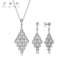 ZEG High Quality 100% Sliver Official Copy 1:1 Pan & Geometrical Line Suit Have Logo Women Fashion Jewerly Free Mail