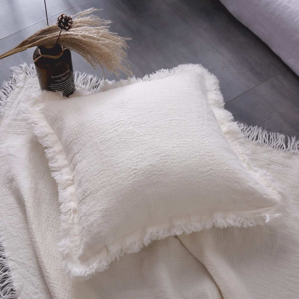 ESASILK Fringed edge Linen Square Pillowcase 100%French Linen Cushion - Home Textile - Photo 3