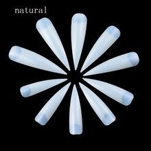 100 шт./лот ногти салон шпильки длинные поддельные Маникюр для кончиков ногтей Искусственные белые/прозрачные/натуральные полное покрытие Типсы