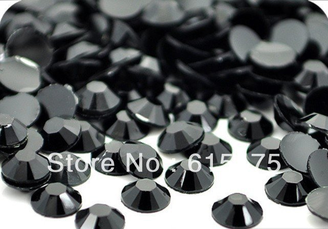 5mm Jet Black Color SS20 crystal Resin rhinestones flatback,Free Shipping 30,000pcs/bag black rhodium jet 5m