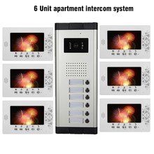 6 Units Apartment Video Intercom System 7 inch LCD Mointor Video Door Phone Doorbell System 1 Camera 6 Monitor