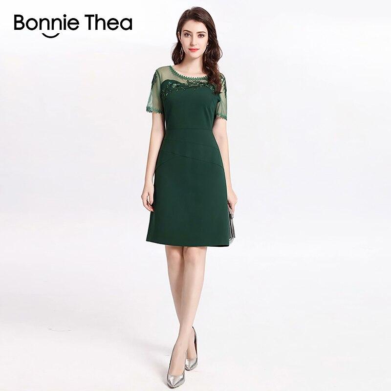 Bonnie Thea femmes été moulante robe verte dame Sexy broderie bureau élégant robe courte mode bureau fête femmes robe