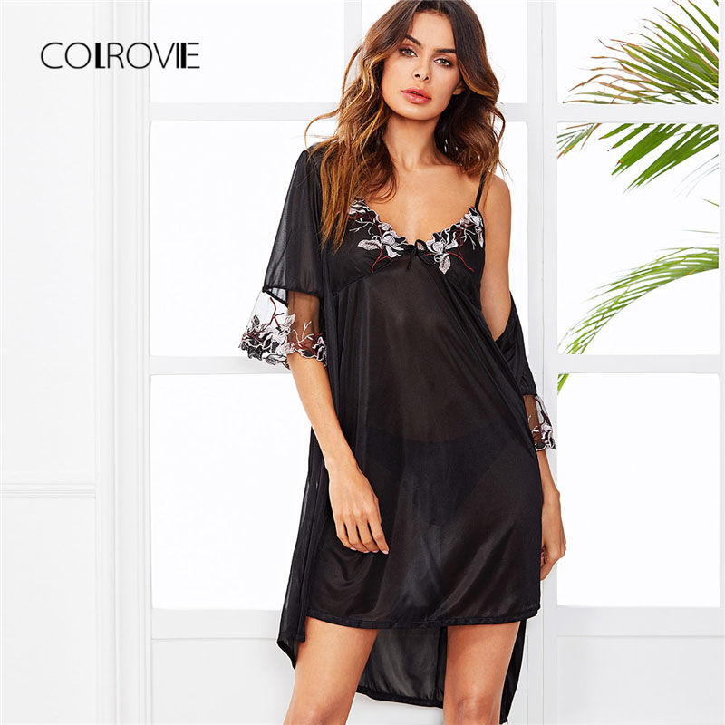 COLROVIE Contrast Mesh Floral Embroidered Cami Dress With Robe 2018 New  Summer Black Spaghetti Strap Elegant Two Piece Set-in Robe   Gown Sets from  Women s ... 70b3dc1d1a78