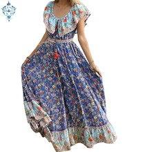 Ameision Summer Boho Vintage Floral Print Sashes Pleated Dress Women 2019 New Fashion Short Sleeve Long Dresses Vestidos
