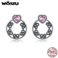 WOSTU Real 925 Sterling Silver Sweet Pink Heart Two Wears Stud Earrings For Women Luxury Fine