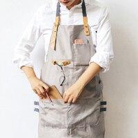 Novo CHURRASCO Sênior algodão Tiras De Couro Metade avental Da Cozinha Avental Babador para As Mulheres Os Homens cozinhar Garçonete Restaurante Personalizado Impressão Do Logotipo