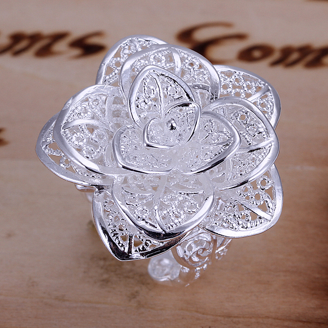 environmental copper silver 925 plated Not allergic adjustable rose shape fashion one wedding rings gif for women PLC RY4013