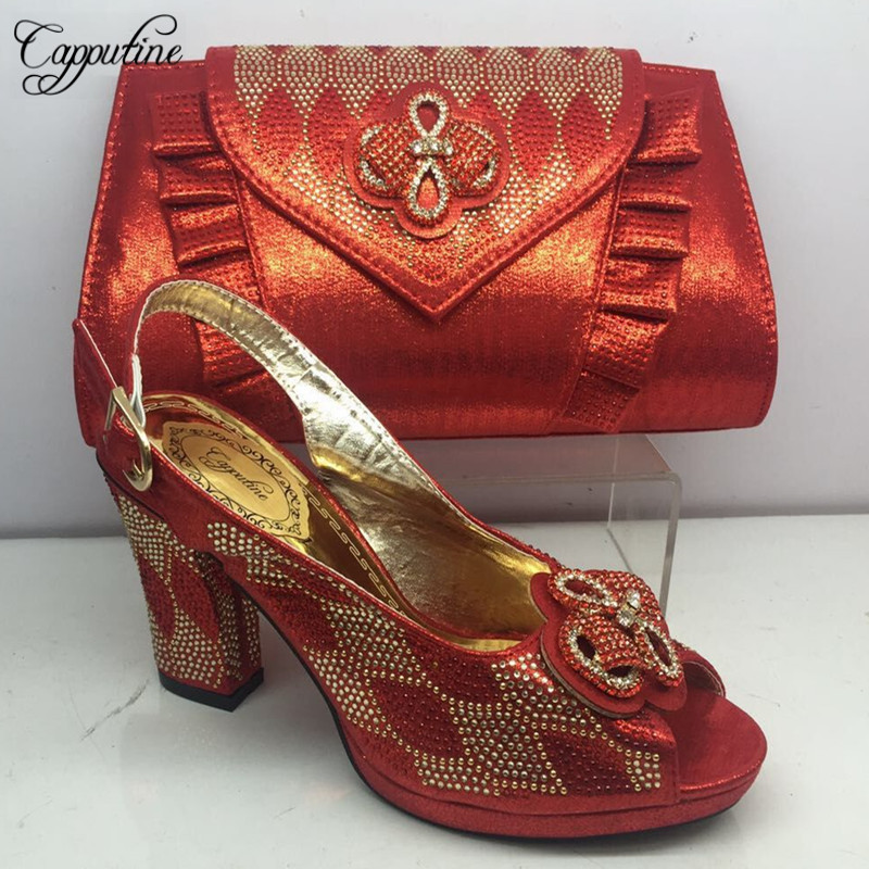 Latest African Summer Party Shoes With Matching Bags Set Nigerian Rhinestone Spike Shoes And Purse Set