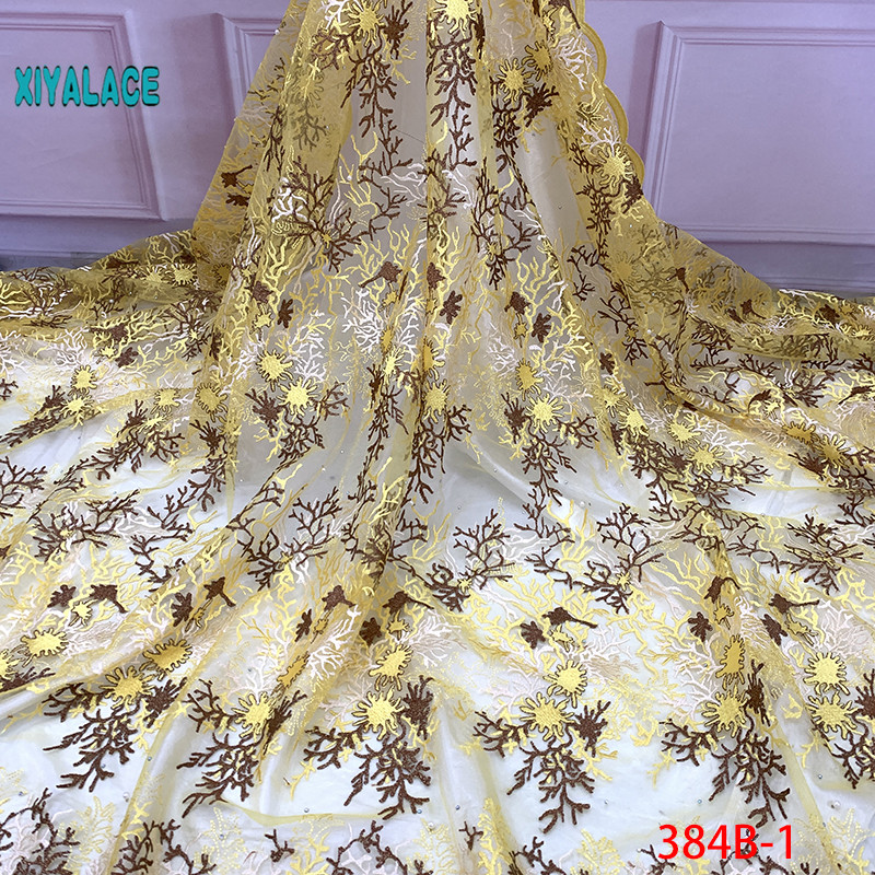 2019 African Beaded Tulle Lace Fabric High High Quality Lace Material Net French Embroidery Nigeria Lace Fabric YA384B-1