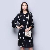 100% шелковое платье из крепа Классическое Белое и черное модное женское весеннее платье с цветочным узором