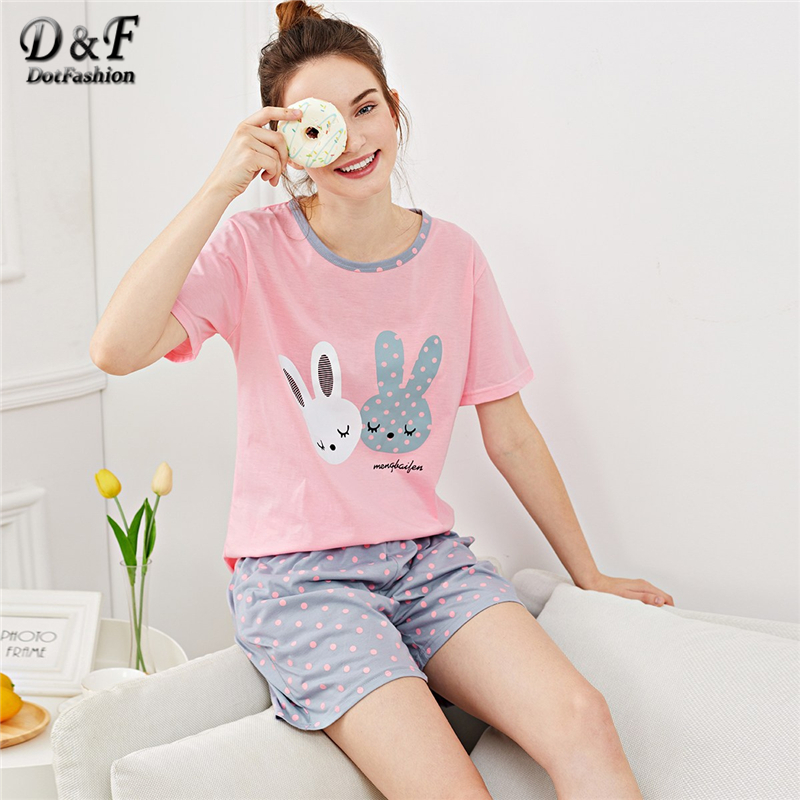 Dotfashion Cartoon Rabbit Print Polka Dot   Pajama     Set   2019 Summer Casual   Pajamas   For Women Short Sleeve Ladies Cute Sleepwear