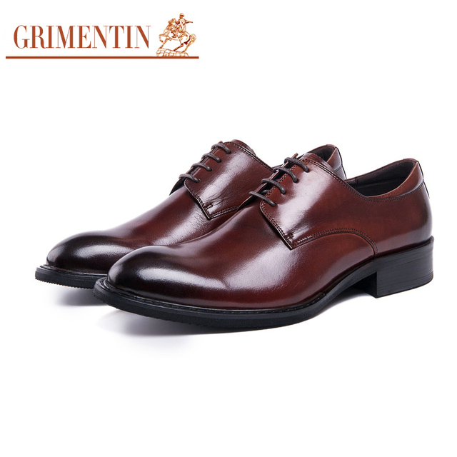 GRIMENTIN genuine leather mens formal shoes handmade classic business  office men shoes 2018 7c6084e5f1b