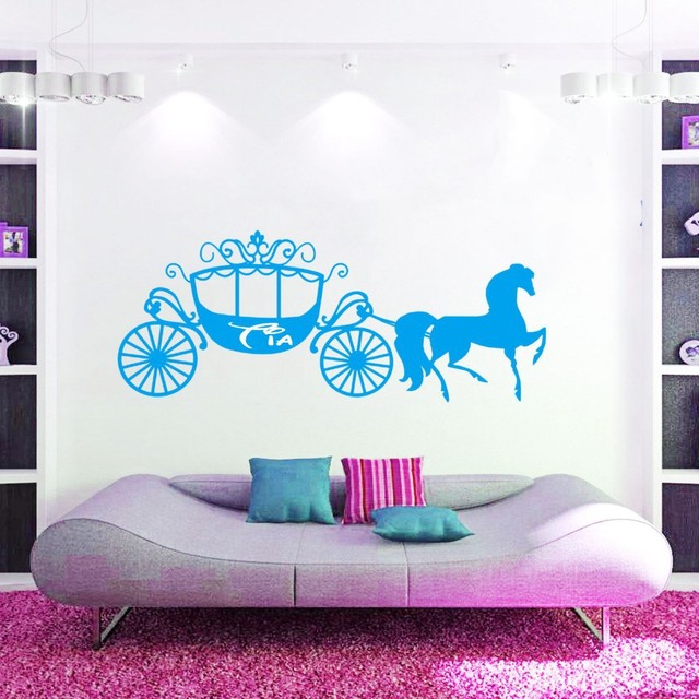 Cliente Feito Personalizado Nome Da Princesa Cinderela CARRUAGEM De CAVALOS  Parede Art Vinyl Decal Mural
