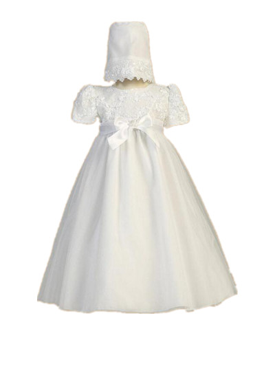 цена  Vintage Soft Heirloom Infant Christening Gown White Ivory Baptism Dress Baby Girl Boy Lace Robe Belt 0-24 month  онлайн в 2017 году