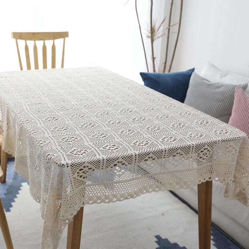 Pastoral Handmade Crochet Lace Tablecloth Cover Towel Cotton Woven Openwork  Kitchen Table Cloth Piano Cover Cloth Manteles