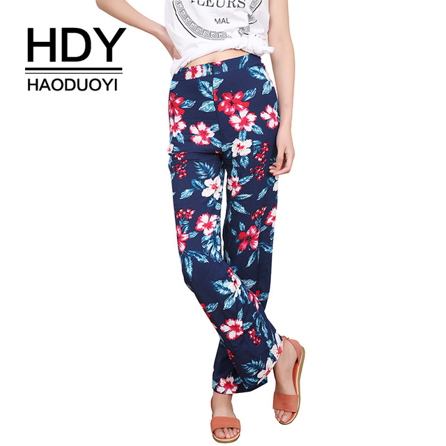 Floral Print Loose Retro Comfortable Casual Ladies Trousers