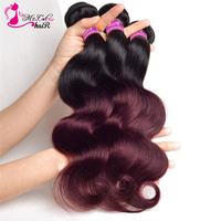 Ms Cat Hair Ombre 1b 99j Hair Bundles 3 Bundles 10 26inch Dark Roots with #99j Body wave Hair Weave Brazilian Remy Human Hair