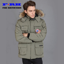 Waterproof  2017 Brand New Big Detachable Raccoon fur Thick Winter Cottoon down mens Banff parka Pocket Style