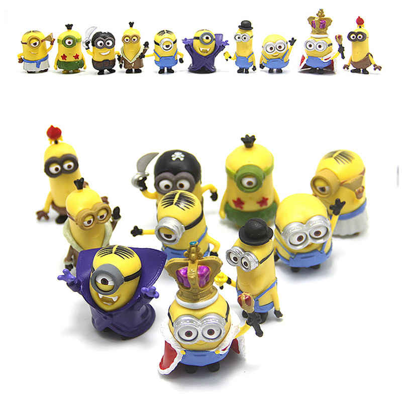 10pcs/pack 3D Crown Minion Miniature Figurines Toys Cute Lovely Model Kids action Figure PVC Anime Children gift