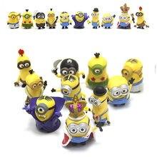 10 unidades/pacote 3d coroa minion em miniatura, estatuetas, brinquedos, bonito, modelo, crianças, brinquedos, figura de ação, pvc, presente para crianças