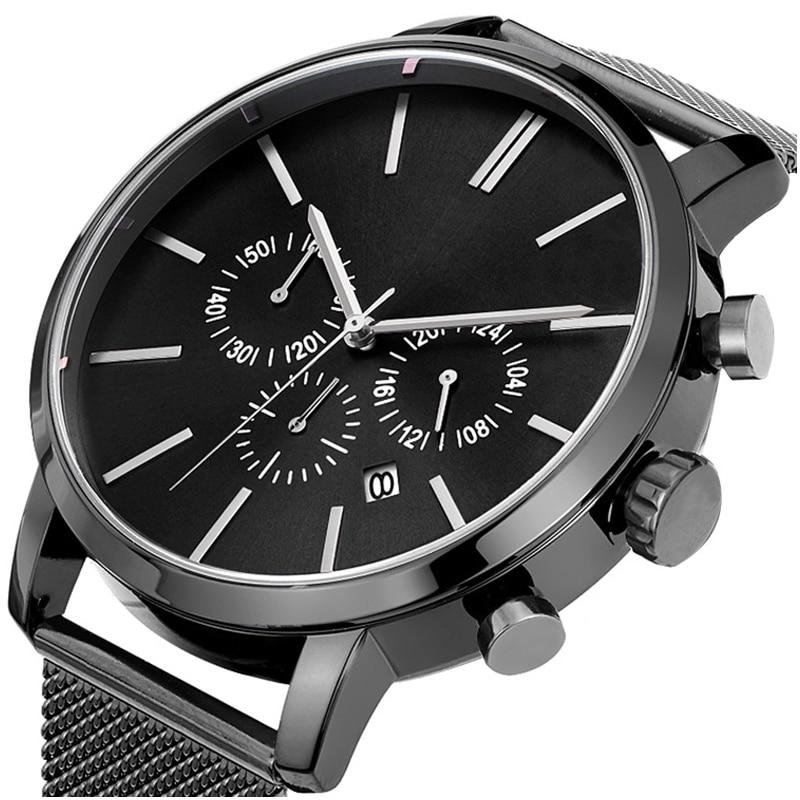 Men Watches Date Quartz Watch Mesh Wristwatch Leather Bans Wrist Watch Business Wristwatches 30M Waterproof Wrist Watches Clock