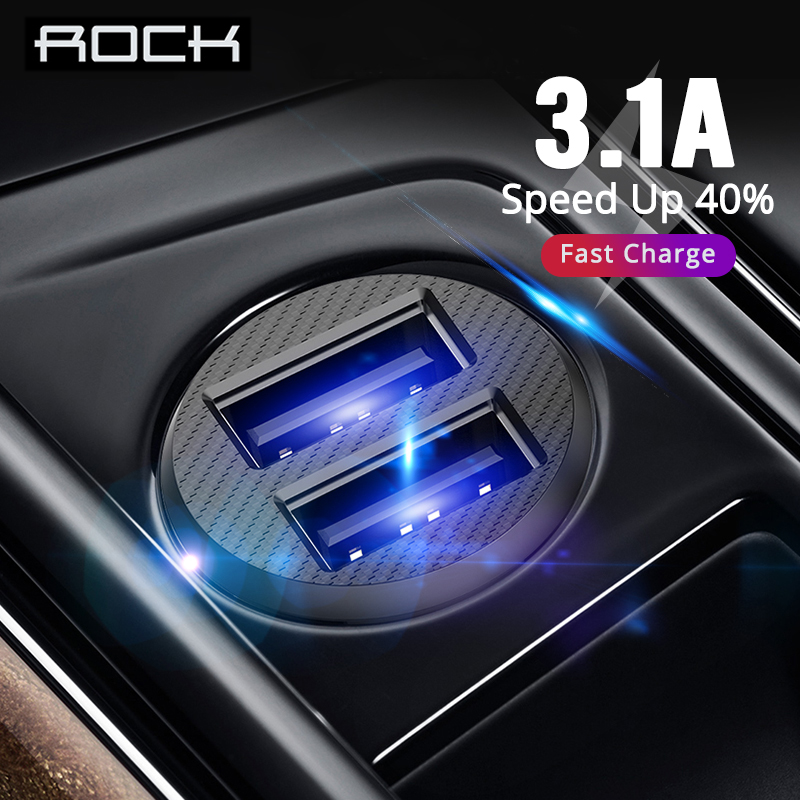 ROCK 3.1A Dual USB Car Charger Quick Charging Mini Car-Charger Auto Charge 2 Port for iPhone X 8 7 6 Samsung Xiaomi