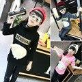 Толстовка девушки Детской одежды Зима Водолазки Толстовки девушки Мультфильм вышивка Дети длинные топы с длинным рукавом бесплатная доставка