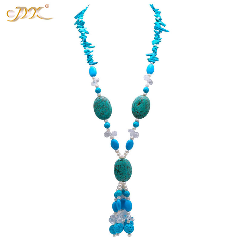 JYX Elegant Long Turquoise Necklace 30*40mm Irregular Gemstone 34 Jewelry with pearls crystal