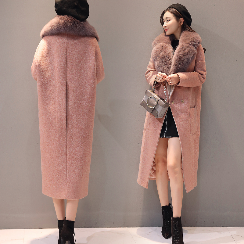 Qualité supérieure manteaux en laine Femme Épaississent Coton Matelassé Longue Outwear Manteaux Femmes Hiver Chaud col de fourrure Chic manteaux en laine Femme