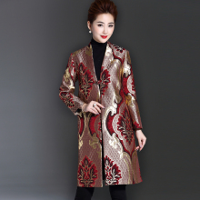 2017 mother clothing autumn outerwear jacquard women's medium-long trench
