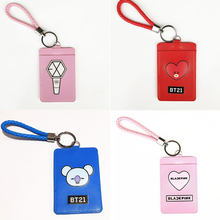 2018 Fans Gifts Favorite Kpop Star BTS BT21 EXO GOT7 TWICE WANNA ONE Cartoon BUS Cute ID Card Holder PU Credit Cover Bag Pendant(China)