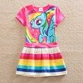 Retail baby girl dress my little pony verano del algodón del niño vestido de desgaste de la muchacha ropa del cabrito del vestido de los niños ropa de bebé niña SH6218
