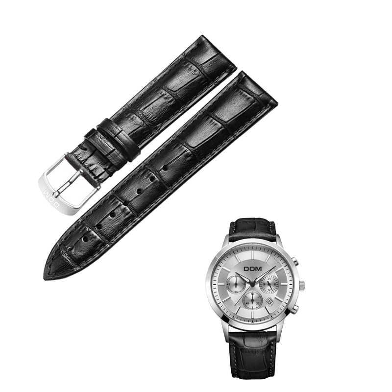 Dom nova pulseira de relógio de couro genuíno dos homens unisex alta qualidade marrom preto fivela à prova d20 água 20mm pulseira de relógio de pulso