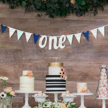 Gold Silver Letters ONE banner Kids First Birthday One Year Old Triangular Garlands Baby Shower Anniversary Party Decor