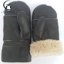New 2019 extra large sheepskin gloves luva thickened,enlarged ,pure natural high quality sheepskin gloves,baseball gloves,warm(China)