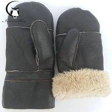 Nuevos guantes de piel de oveja extra grandes 2020 luva espesados, agrandados, guantes de piel de oveja de alta calidad natural pura, guantes de béisbol, cálidos
