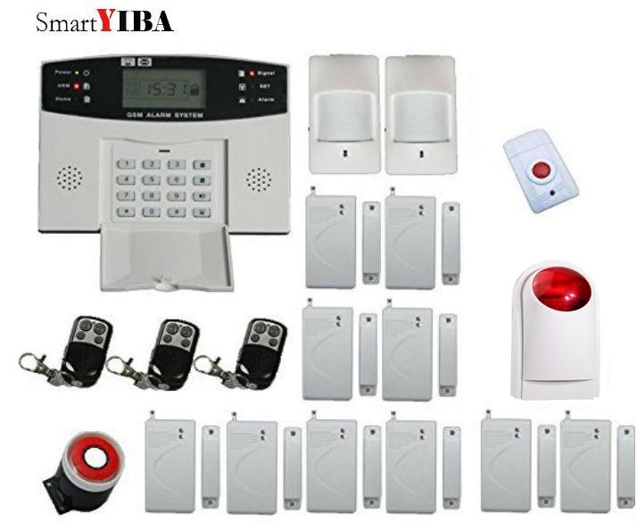 SmartYIBA Wireless GSM Alarm System Panic Alarm PIR Detector Door Sensor Strobe Siren Horn Alarmes Kits Home Alarm wireless vibration break breakage glass sensor detector 433mhz for alarm system