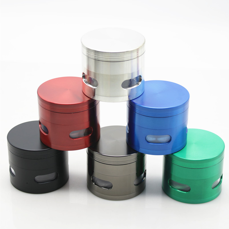 1Pc 4 Layers Side Transparent Windows Metal Zinc Alloy Tobacco Crusher 63MM Muller Narguile Hookah Accessory Herb Grinder